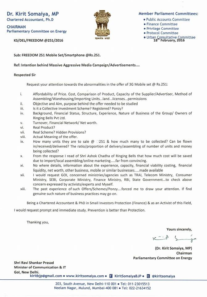 Kirit Somaiya Letter Regarding Freedom 251