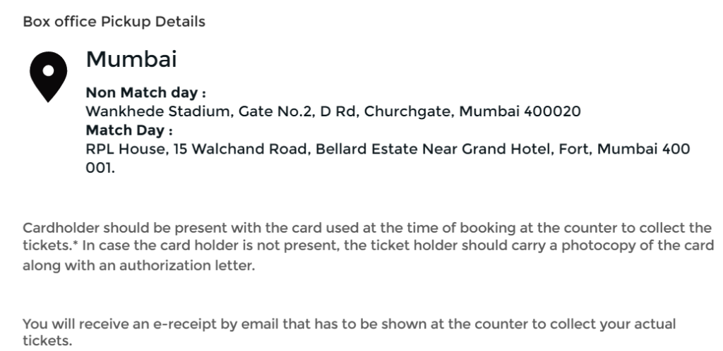 Wankhede Stadium Box Office Details