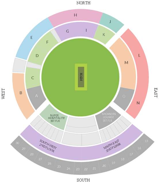 ACA VDCA Cricket Stadium Seating Arrangement