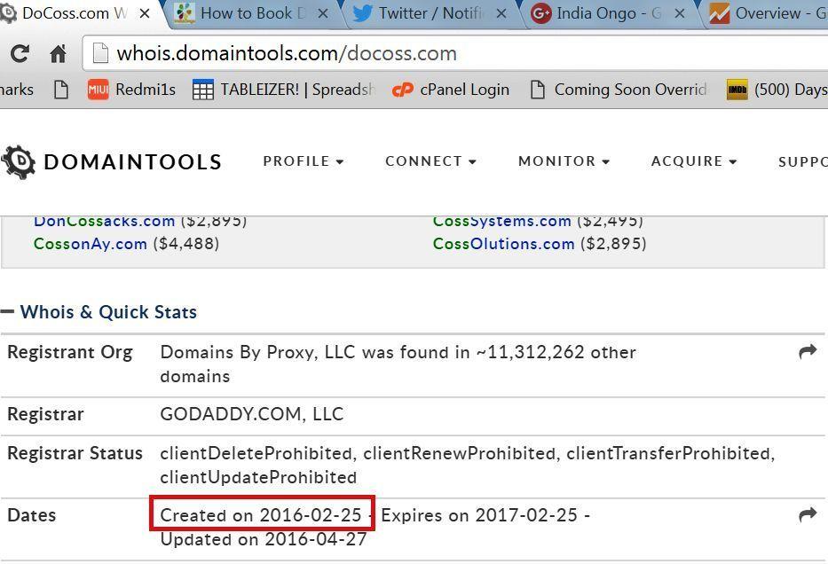 Docoss Domain History