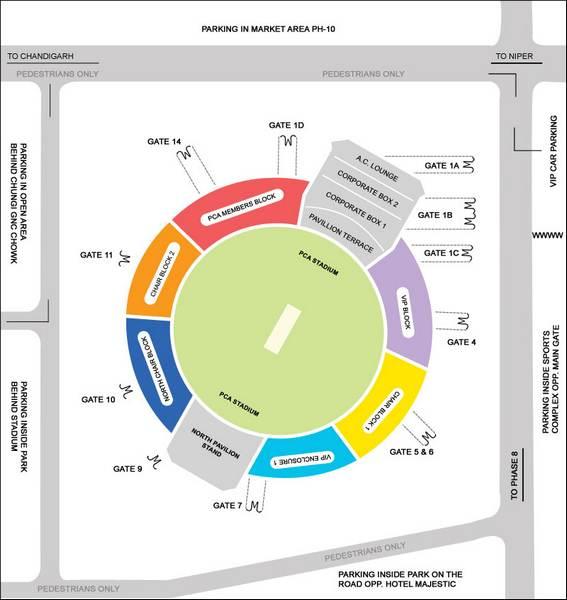 Mohali Stadium Seating Plan