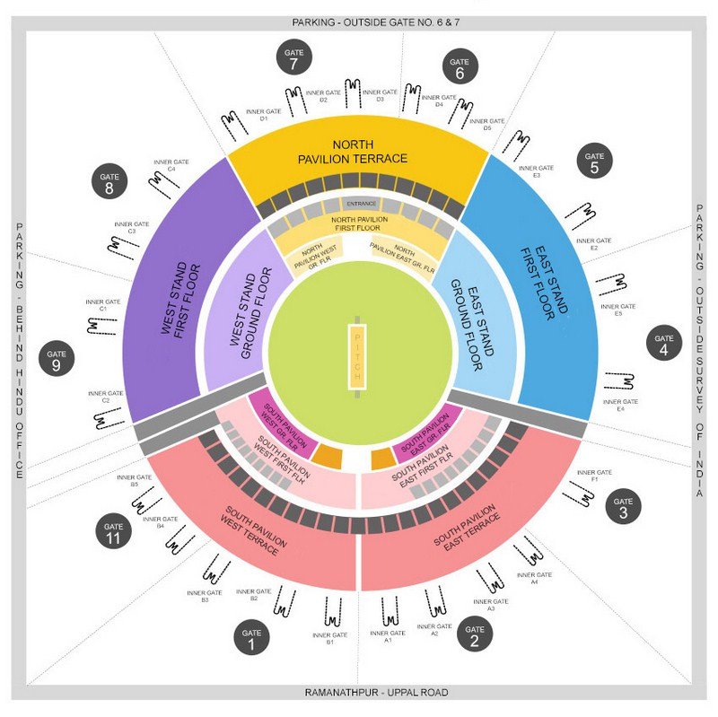 Rajiv Gandhi International Cricket Stadium Seating Arrangement