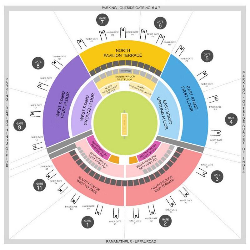 Rajiv Gandhi International Cricket Stadium Seating Arrangement