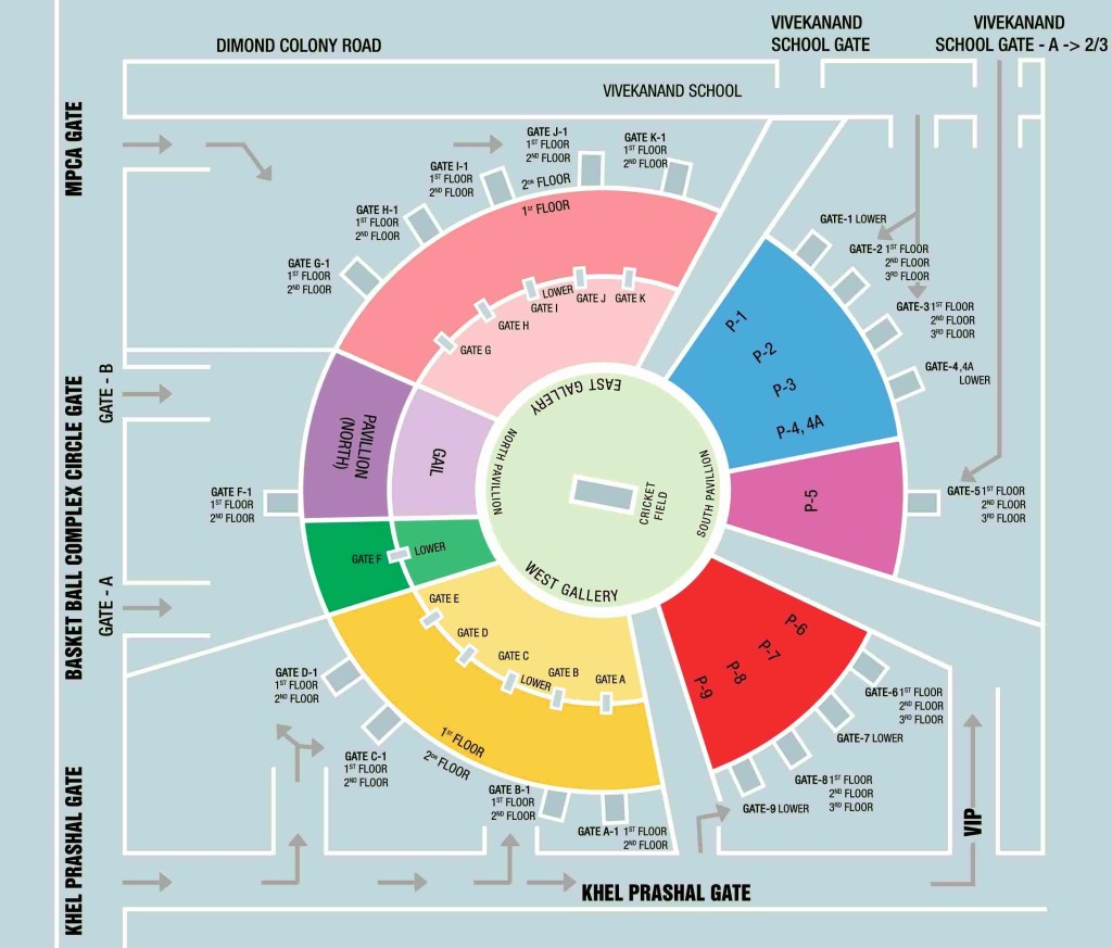 Holkar Cricket Stadium Seating Layout Map