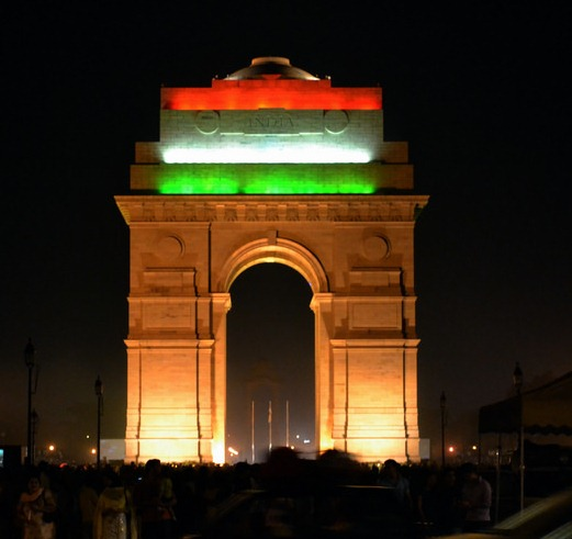 India Gate illuminated with Tri Colour Lighting