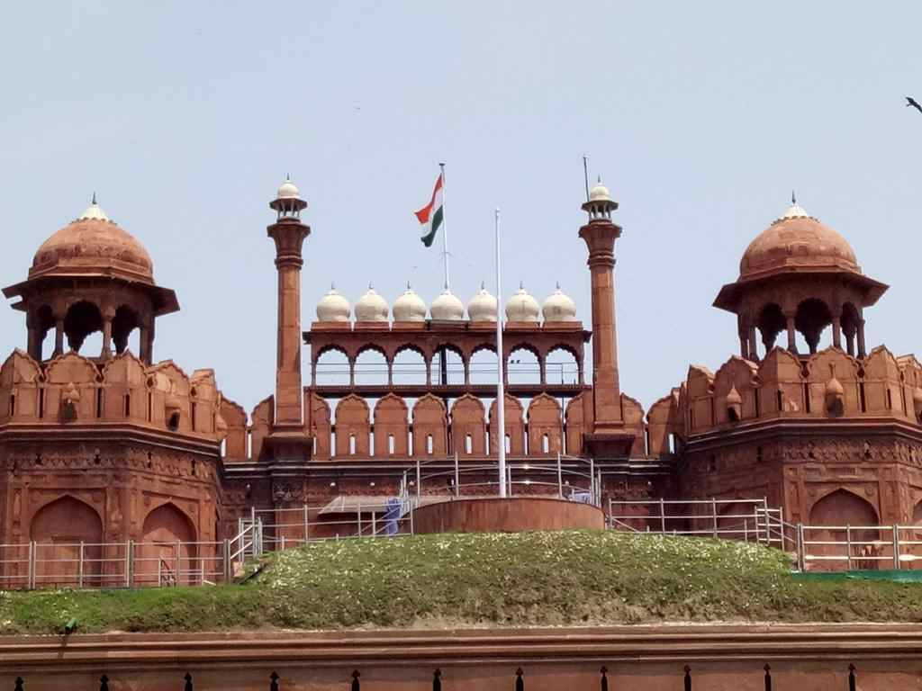 Indian Tricolour Flag Hoisted on Red Fort