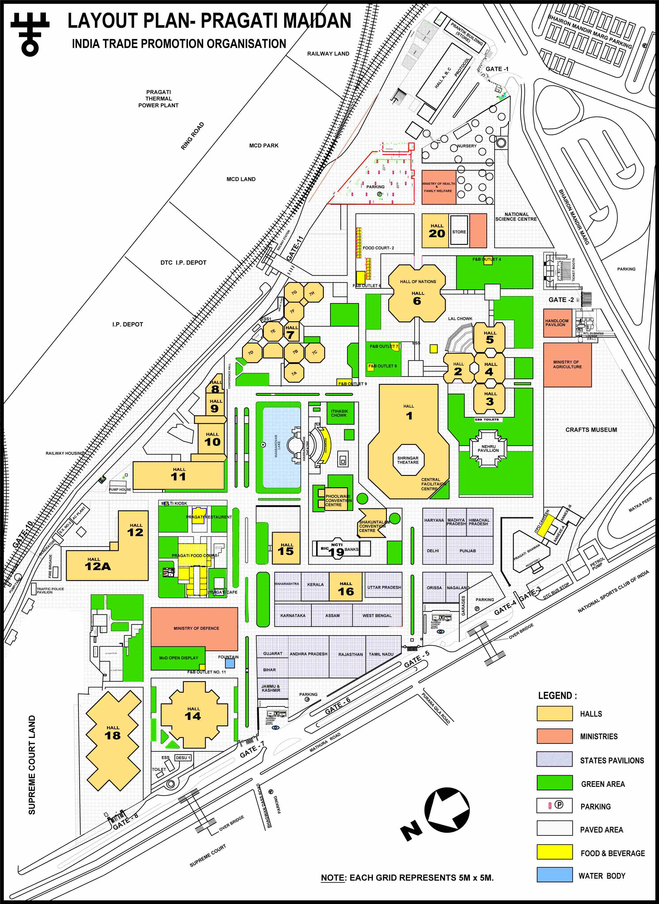 Pragati Maidan Layout for Trade Fair Delhi 2016 showing nearby road, entry gates, parking area etc.