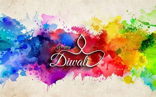 Colorful Happy Diwali wallper in English
