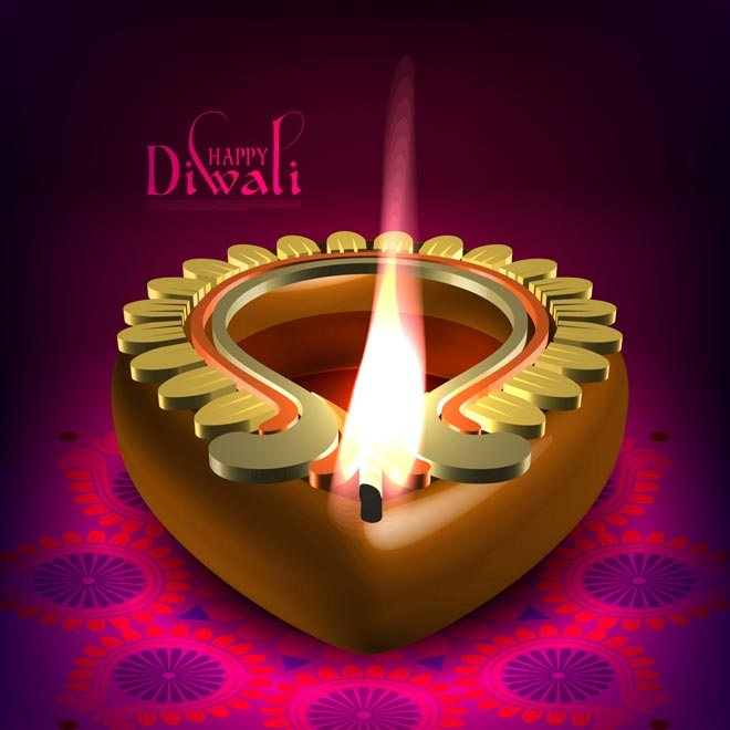 Happy Deepawali Image with Diya