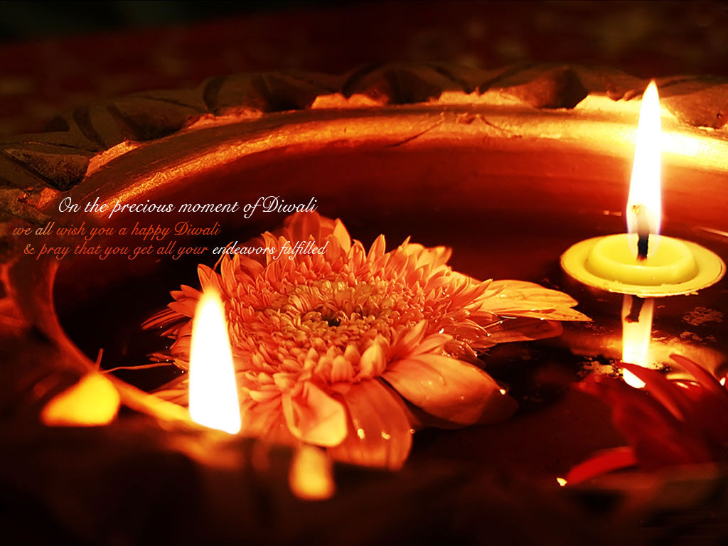Happy Diwali Candle Flower Image