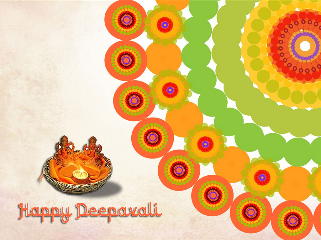 Happy Diwali Wallpaper with God Ganesh and Lakshmiji