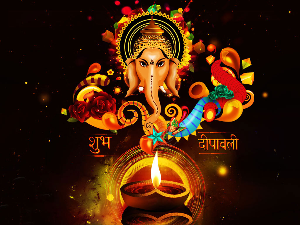 Happy Diwali Hindi Image with God Ganeshji