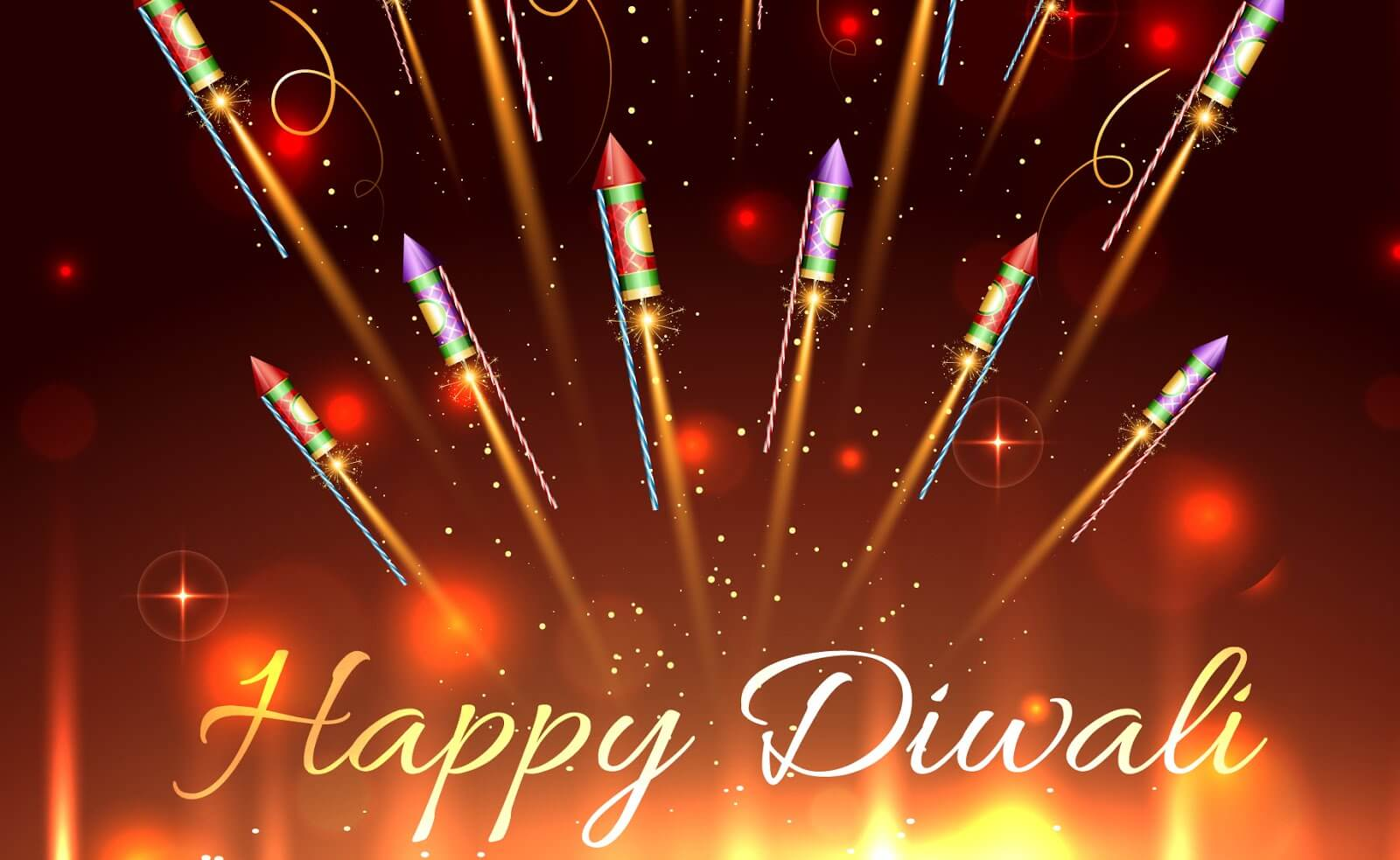 Happy Diwali Image with Crackers Rockets