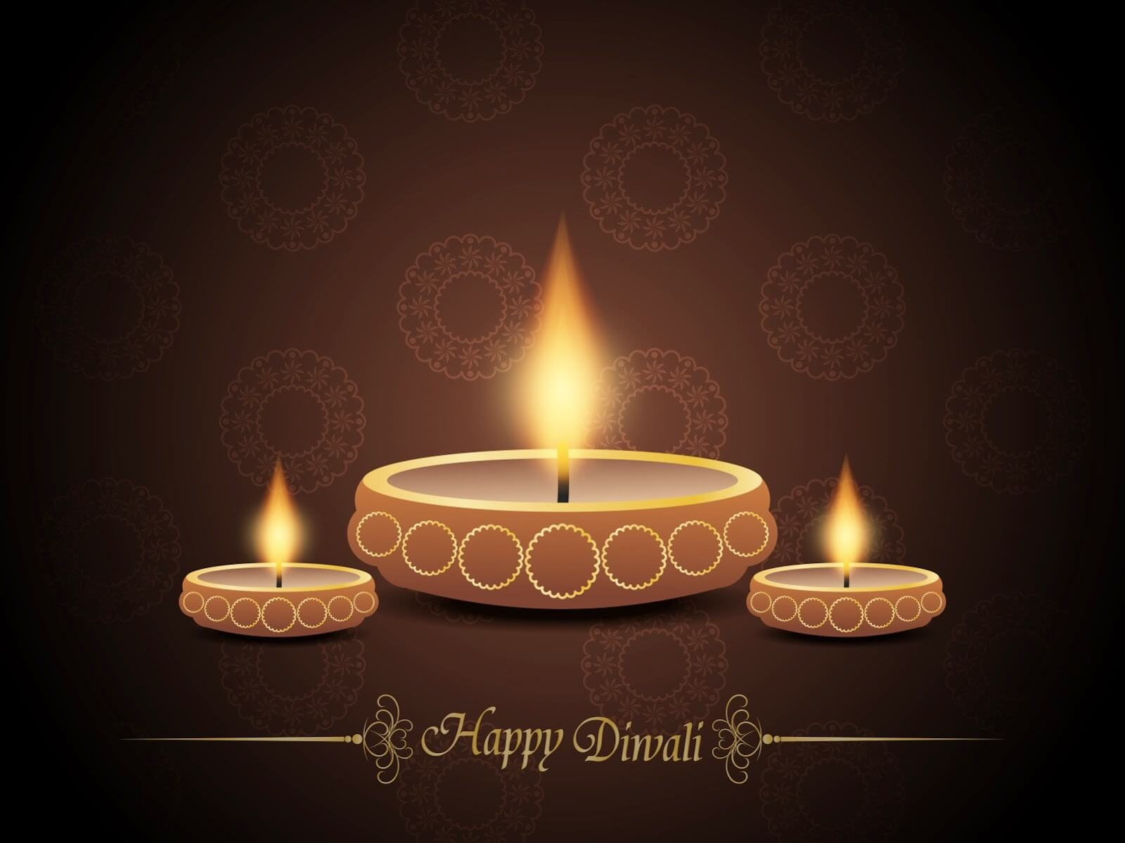 Happy Diwali Wallpaper with Diyas