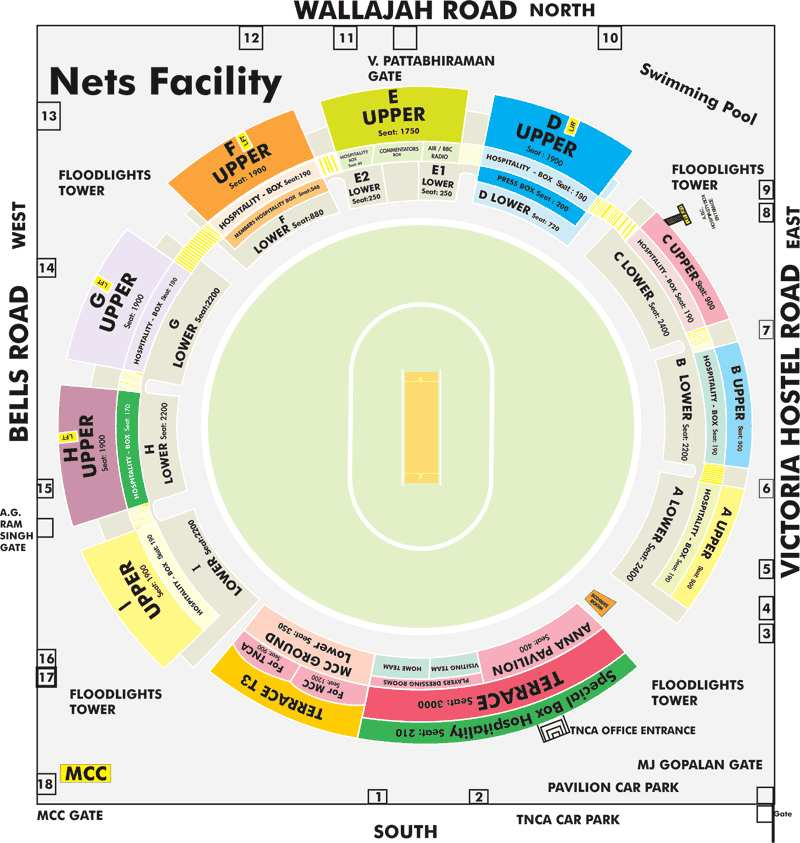 Chepauk Stadium Stadium Layout, Seating Plan