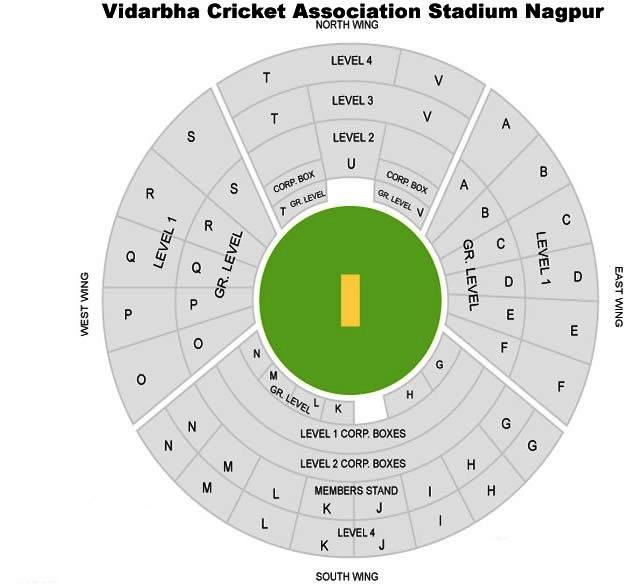 Map is showing Nagpur Cricket Stadium Seating Arrangement