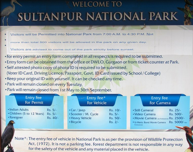 Sultanpur National Park Tickets and Timings Information Board