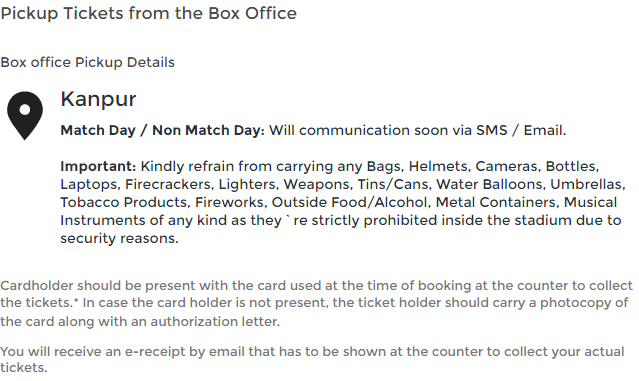 Cricket Tickets Collection Rules