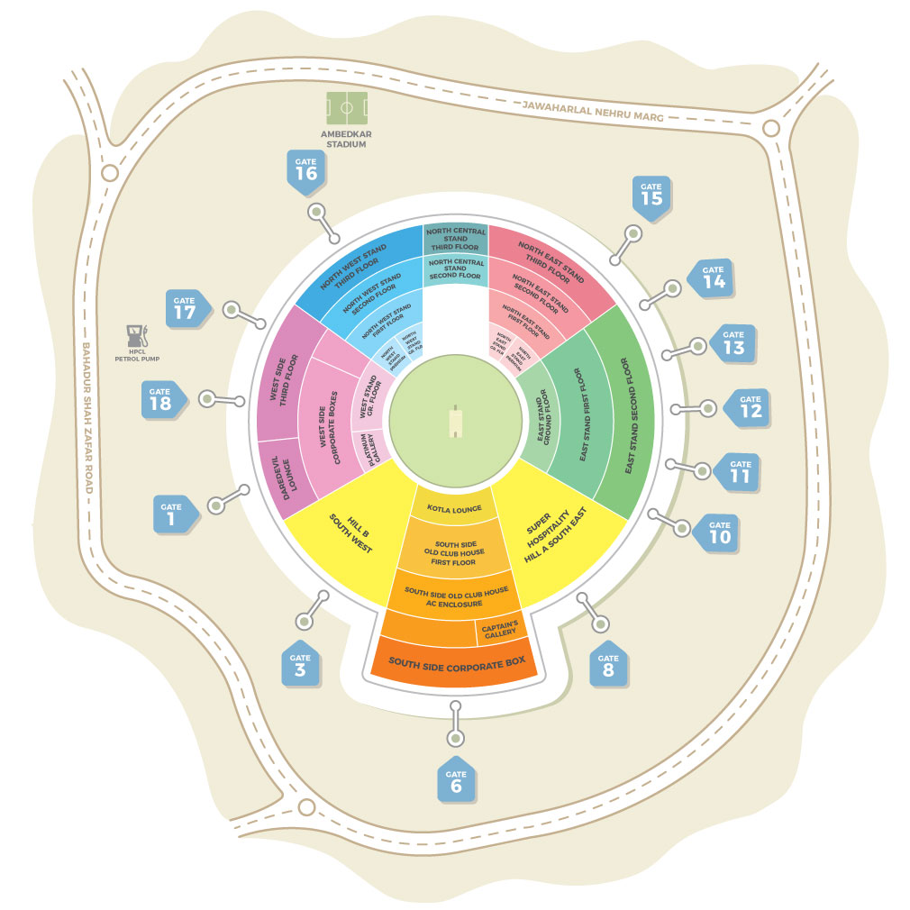 Feroz Shah Kotla Cricket Stadium Layout with Seats, all gate numbers, stands, pavilions, nearby road, all boxes and Ambedkar stadium