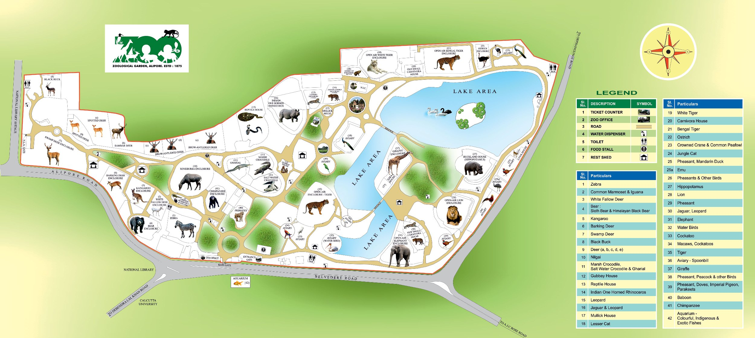 Alipore Zoo Map displays Ticket counter, zoo office, road, water dispenser, toilet, food stalls, sheds, etc.