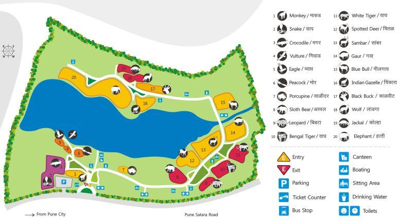 Rajiv Gandhi Zoological Park Map, Katraj, Pune