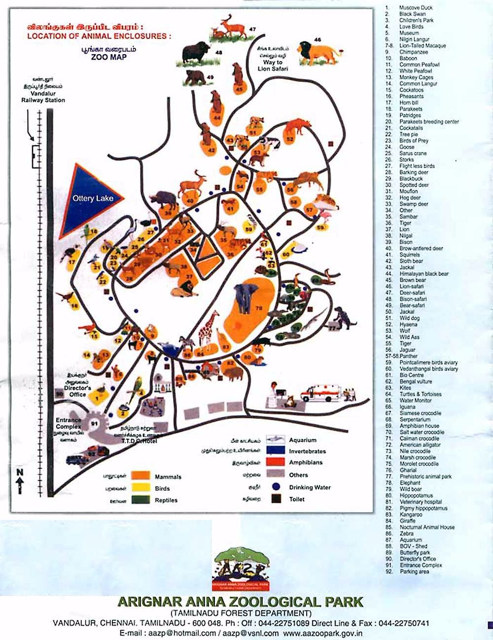 Vandalur Zoo Map Layout along with animal location
