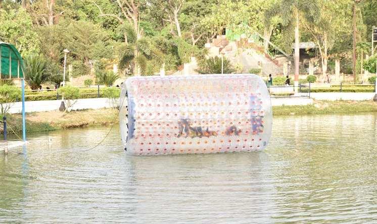 Aqua Zorbing in lake inside Rajdhani Vatika