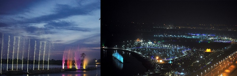 Eco Park Kolkata in Night with Colourful Fountains