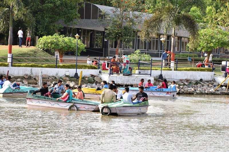 Eco Park Patna Boating, Visitors enjoy boating in the lake