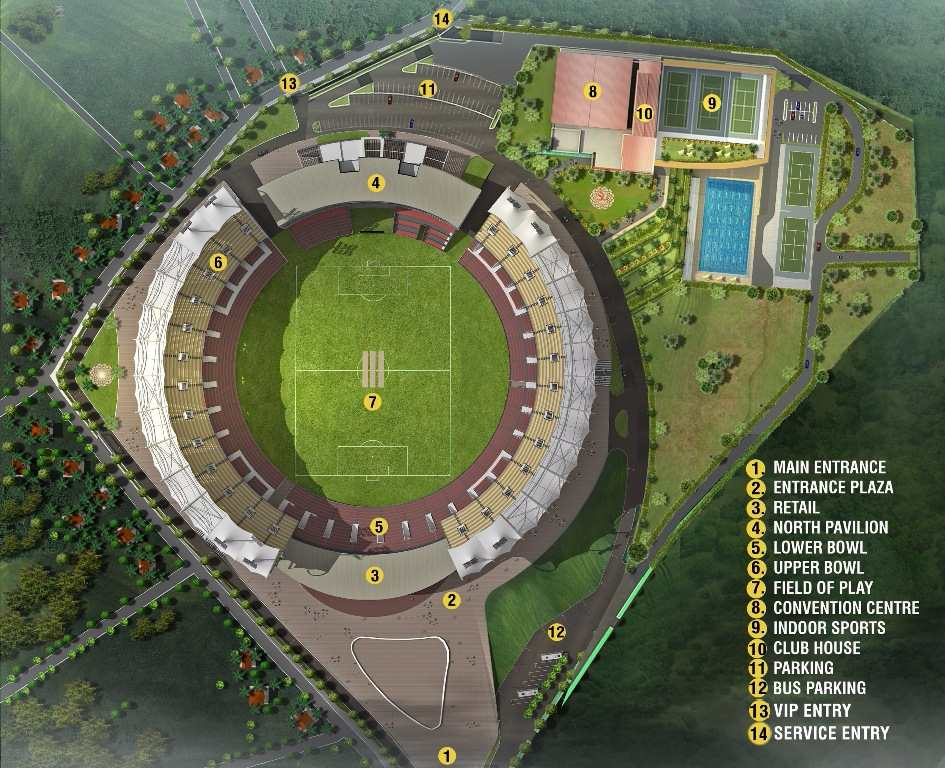 Trivandrum International Cricket Stadium layout with all details