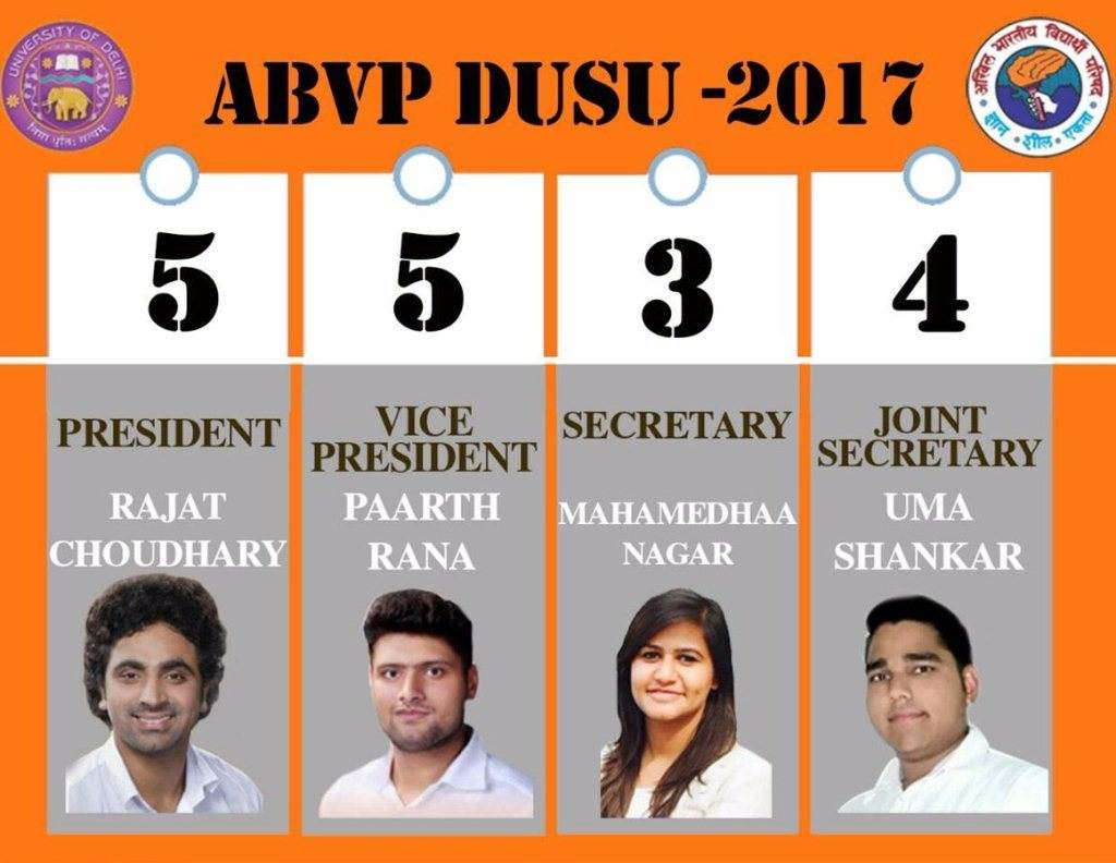 ABVP DUSU Candidates with Photo and Ballot Number for 2017 DU Elections