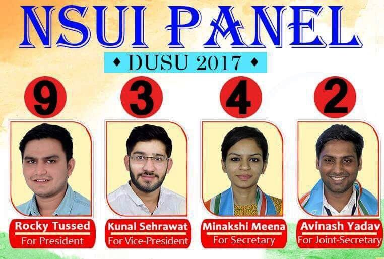 NSUI DUSU Candidates with Photo and Ballot Number for 2017 DU Elections