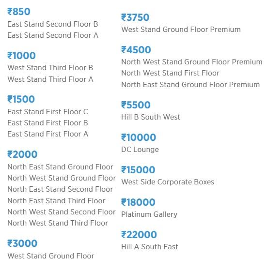 ipl ticket price in delhi