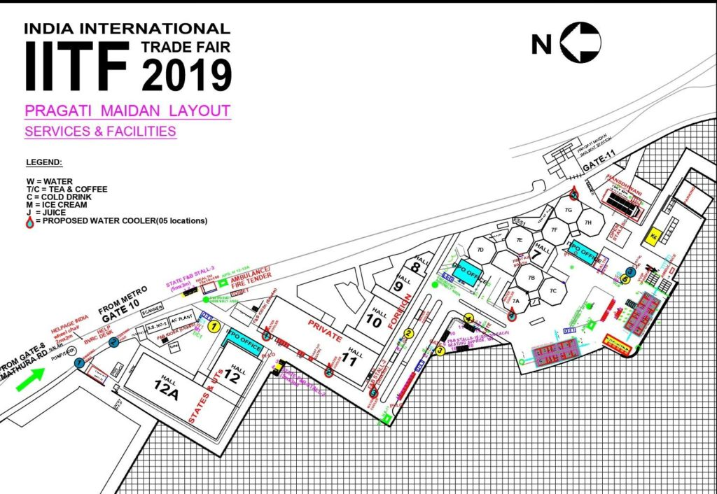 Pragati Maidan Layout for Trade Fair Delhi 2019